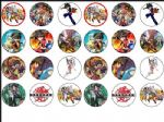 24 x BAKUGAN wafer paper rice bun Cake Tops 1.6''